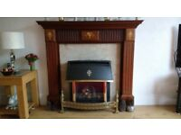 Bespoke solid mahogany fire surround, marble back and plinth in excellent condition