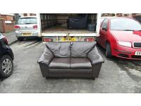 2 seater sofa in brown leather, mint mint condition £125 delivered