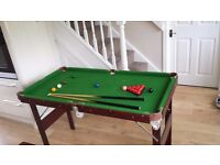"""Like New 4.5"""" x 2.5"""" Pot Black folding Snooker Table. Includes Cues, Triangle, Chalk and Scoreboard"""
