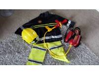 ELC FIREMAN COSTUME WITH EXTINGUISHER BACKPACK AND HELMET