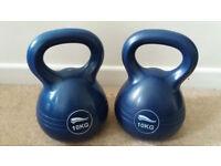 2 x 10kg Kettlebells Strength Fitness Gym Health Weights Cardio Kit