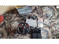 Playstation one + 1 Controller, driving set and memory card