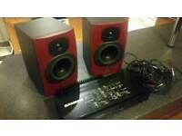 Tannoy Reveal studio monitors, with Samson servo 170 amp & cables