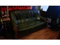 6ft antique green leather sofa