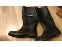 Mens black dunlop welly boots size 10
