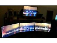 "3x 1080p LG 22"" IPS monitors plus mounting arms"