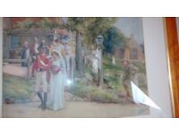 Antique early 1900s village wedding print in glossy pine frame. Original Pears Soap print