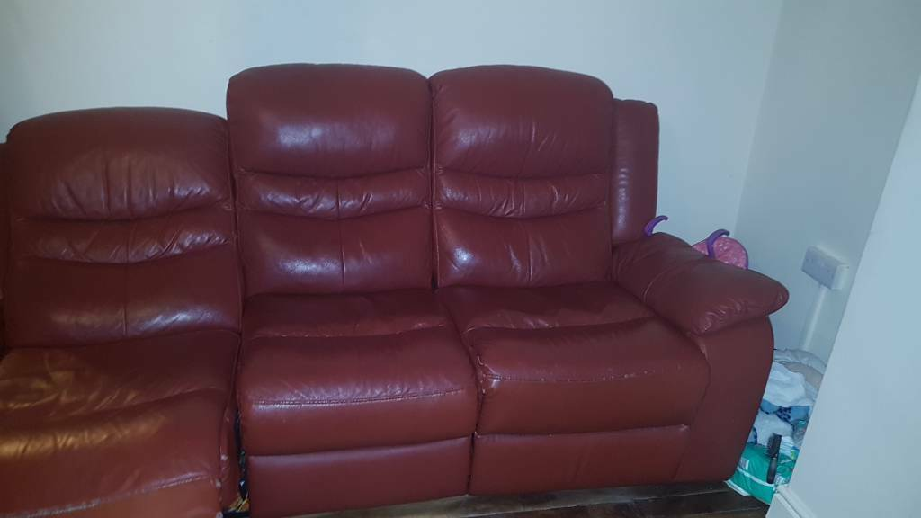 Real Leather Sofa Recliner Spares As 1 Recline Not Working In