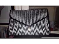 Rattan black and white large clutch