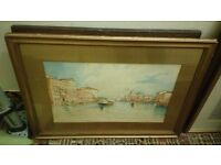 Venice watercolour, approx 60cms x 40cms, fair condition, frame a bit iffy