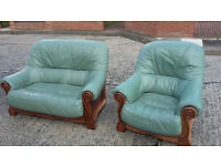 light green wood frame 2 seater sofa and 1 chair