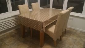 Solid Oak dining table L160cm x W90cm and 4 chairs.