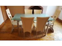 Reinforced glass-topped EXPANDABLE Dining Table & 6 Chairs (2 leather) - £100 for all!!