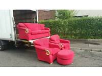 3, 1, 1 seater sofa + footstool in red material excellent condition!