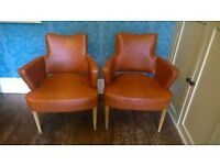 **PAIR OF VINTAGE BARBERS 100% LEATHER CHAIRS - RETRO VERY RARE DESIGN **