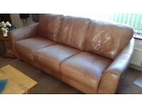 Leather Three Seat Sofa And Armchair. In Good Condition. Very Comfortable