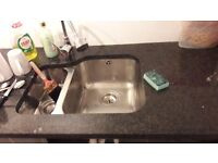 black silver specks GRANITE Worktop and sink range master & tap collection from mansfield