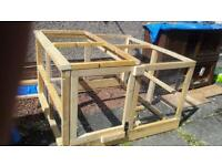 Outdoor animal run /pen with spare timber and wire panels