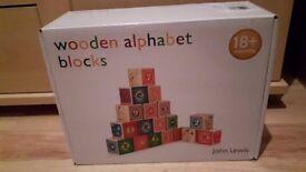 John Lewis Alphabet Blocks (brand new)