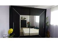 2 COMPARTMENT WARDROBE black with mirror
