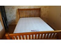 Creations wooden double sleigh bed with memory foam mattress