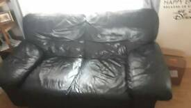 Dark navy leather two seater sofa