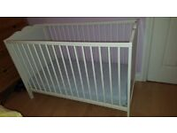 Ikea 2 Position White Cot with matress