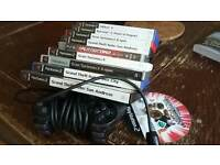 10 Playstation 2 games and controller