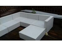 8 piece white rattan garden furniture