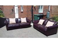 3 seater leather sofa in good condition with cushions included