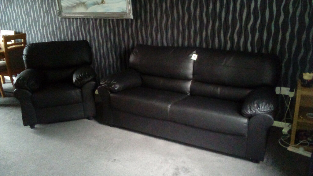 Faux Leather 3 Seat Sofa & Arm Chair