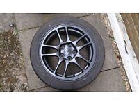 Set of 4 Mitsubishi Evolution IX Enkei wheels and winter tyres