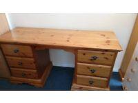 Pine 6 Drawer Dressing Table /Desk
