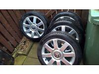 full set of alloys with tires for vw, skoda ,audi