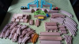 Wooden train track trains and acsessories.