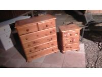 pine chest of drawers and pine bedside table set