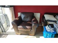 Brown Leather Armchair For Sale - £100