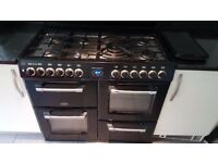 BELLING Kensington range gas cooker. 7 burner, double oven, extraction hood