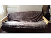 Wooden sofa in great condition (mattress included)