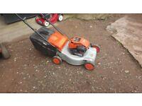 flymo, quicksilver, petrol lawn mower