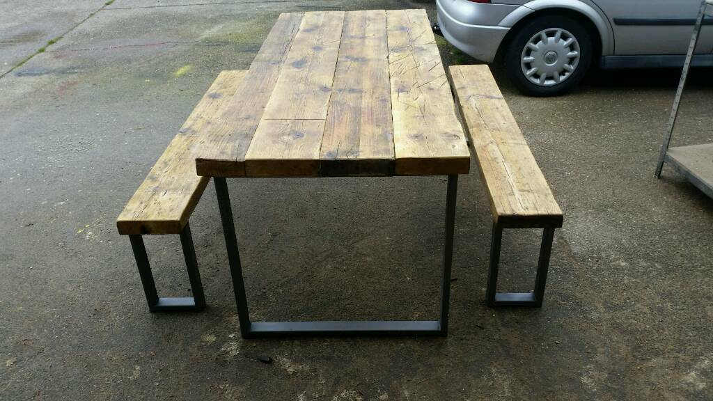 Industrial Chic 6 8seater Dining Table And Bench Set