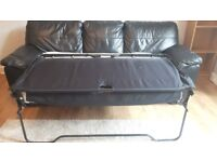 Lovely black leather sofa bed