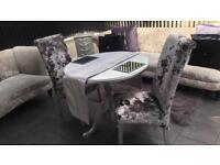 Crushed velvet and glitter back chairs and upcycled table stunning !!