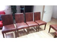 **Very nice 6 large leather brown chairs**