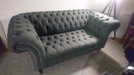 HANDMADE 2.5 SEATER SLATE GREY WOOL CHESTERFIELD SOFA
