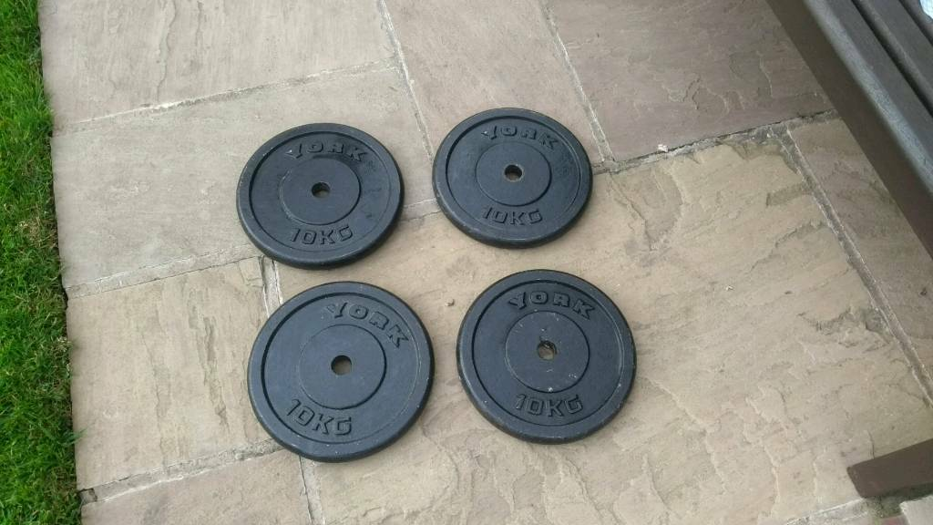 4 x Cast iron weight disc's plates.Weightlifting.10kg