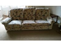 THREE SEATER EXTREMELY COMFORTABLE SOFA/SETTEE. £20. PART OF A THREE PIECE SUITE. SEE OTHER ADS.