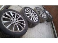 """JAGUAR 17"""" ALLOYS 5X108 WITH 4 AS NEW TYRES MONDEO FOCUS S MAX C MAX CONNECT VOLVO etc BARGAIN £140"""