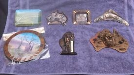SEVEN SOUVENIR AUSTRALIAN ITEMS - BROUGHT BACK FROM HOLIDAY - FOUR ASHTRAYS-BAROMETER - WALL PLAQUE