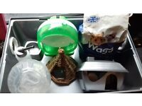 hamster cage with new food and bedding